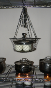 Hanging, wire mesh, repurposed veggie holder